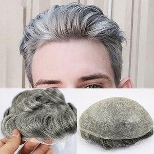 Peluquín de piel fina Eversilky 0,03-0,04 para hombres, sistema de reemplazo de piezas de cabello para hombres, Peluca de hombre de Color 1B65