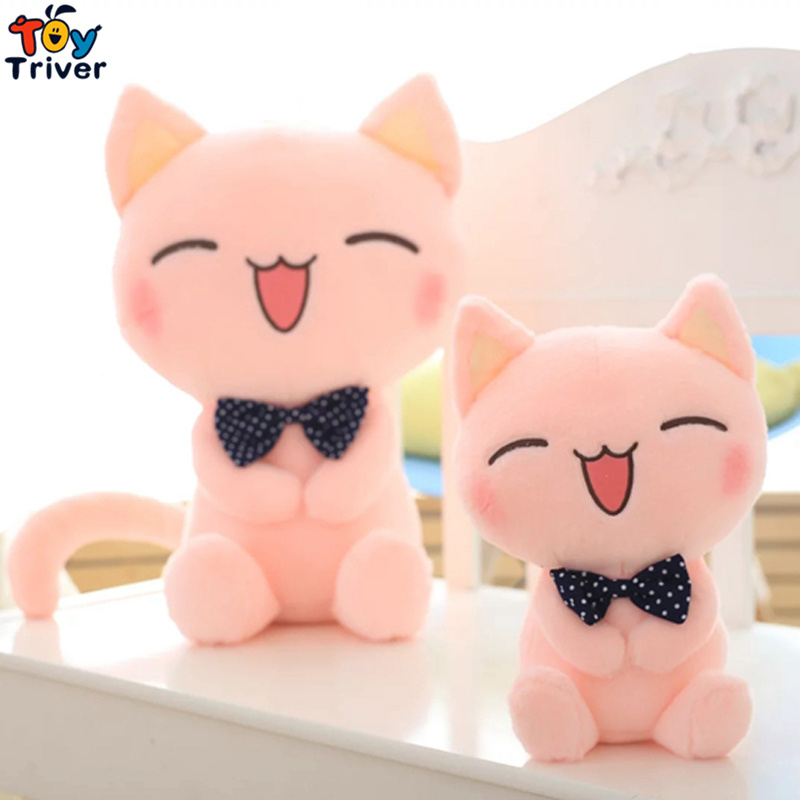 1pc Kawaii Plush Pink Kitty Cat With Tie Toy Stuffed Animal Doll Baby Kids Children Birthday Gift Home Shop Decor Promotion