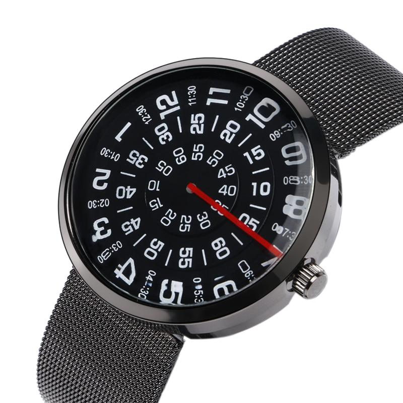 Креативные Часы с поворотным циферблатом для мужчин и женщин, часы со специальным номером, полностью стальной сетчатый ремешок, унисекс-бра...