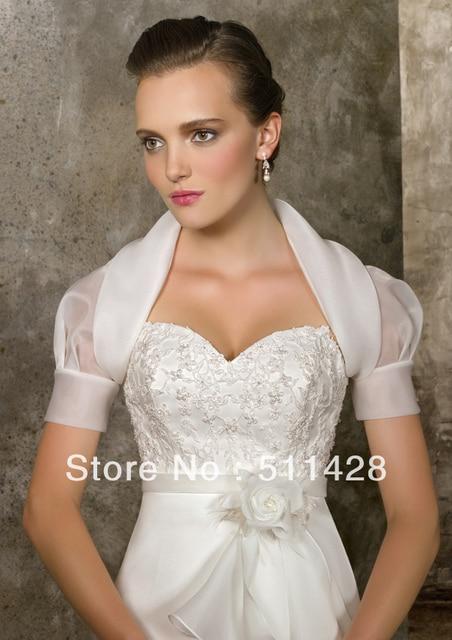 Custom Made Ivory Organza Short Sleeves Bubble Formal Wedding Dress ...