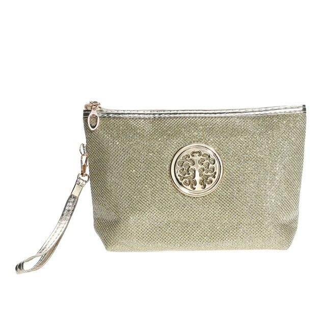 Sailboat Makeup Bag Gold Powder Handbag Portable Cosmetic Toiletry Organizer Case Women Clutch