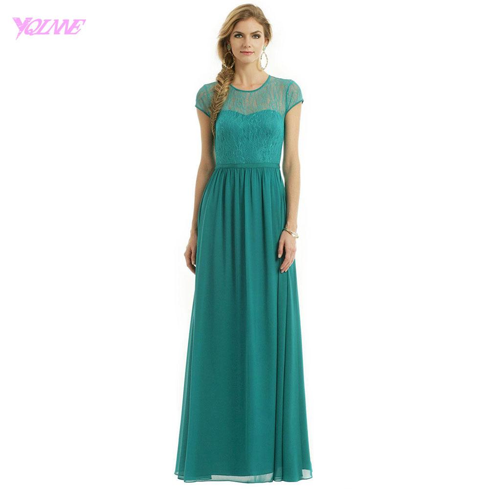 YQLNNE 2018 Turquoise Lace Chiffon   Bridesmaid     Dresses   Long Wedding Party   Dress