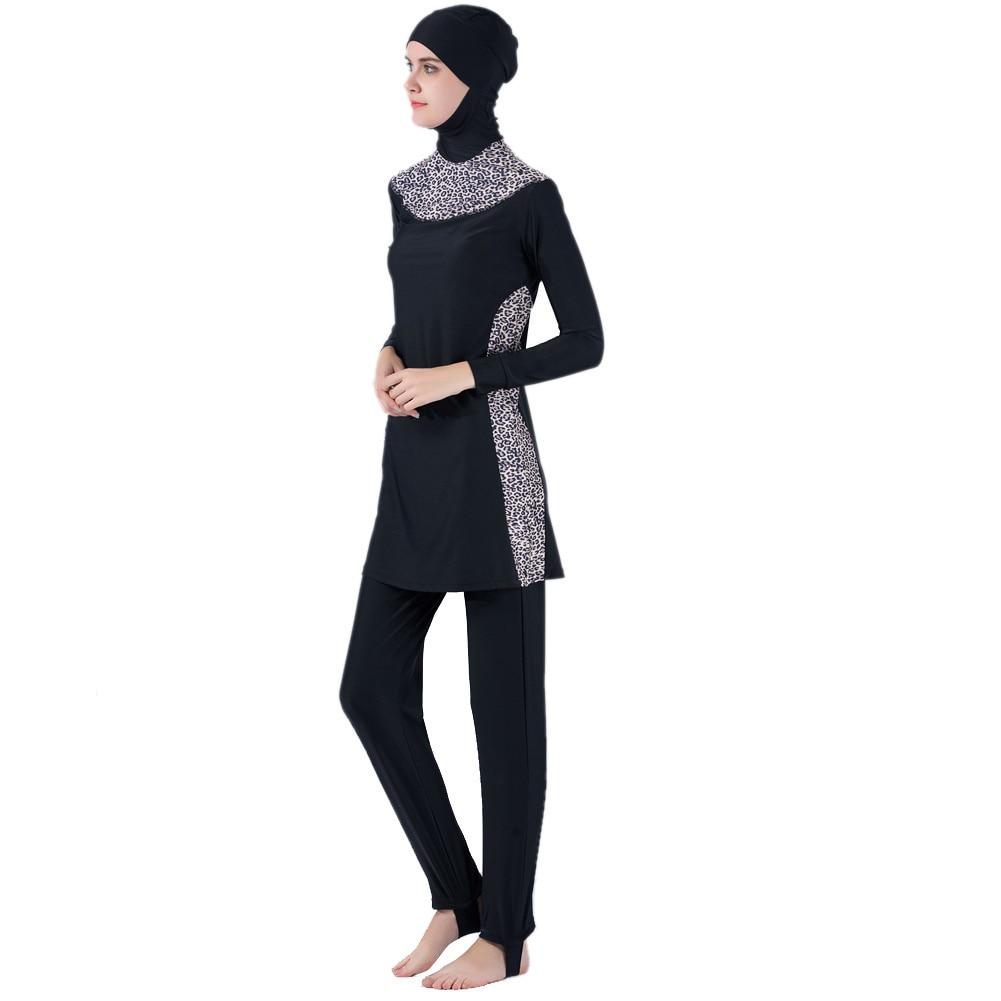 Shop For Cheap Modest Muslim Swimwear Islamic Swimsuit Women Hijab Swimwear Full Cover Muslim Swimming Beachwear Swim Suit Set Leopard Style Mother & Kids