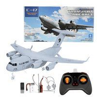 C17 RC Drone DIY Aircraft Transport Aircraft 373mm Wingspan EPP RC Drone Airplane 2.4GHz 2CH 3 Axis Aircraft for Children Toy