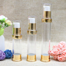 Travel Mini 15ml 20ml 30ml Gold Airless Bottles Cosmetic Container Plastic Empty Refillable Bottle 100pcs/lot