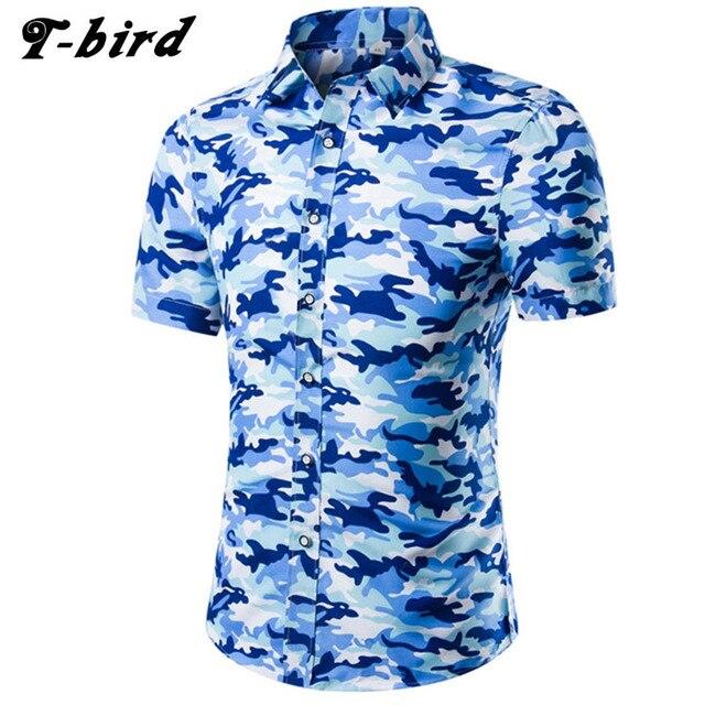 29f39391e Hombres camisa manga corta 2018 marca Camisas hombres Casual Slim Fit  grande camuflaje Chemise hombre Hawaiano