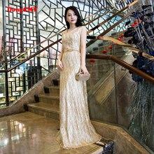 New arrival 2017 double-shoulder V-neck formal lace up long design gold Color evening dress