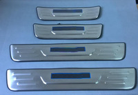 Stainless Steel LED Blue light Welcome pedal Door Sill Cover Scuff Plate Trim For Hyundai IX35 2010 2011 2012