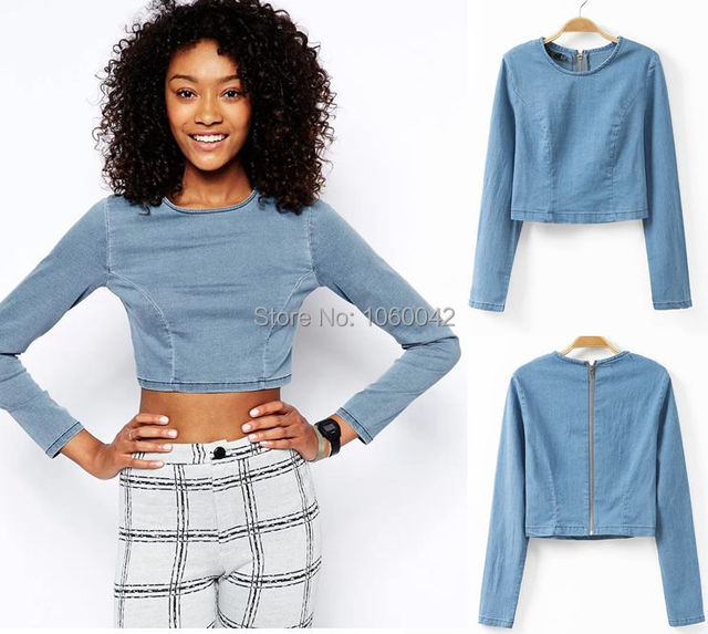 e448021f2 New Denim Jeans Crop Top Camisetas Blusas Long Sleeve Plus Size T-shirt  Tight-fitting sexy short T Shirt Cropped Tops For Women