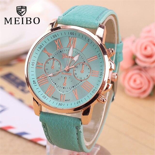 aa88bea2648 MEIBO Marca de Moda Relógios Para As Mulheres De Couro Algarismos Romanos  Relógios de Pulso Big