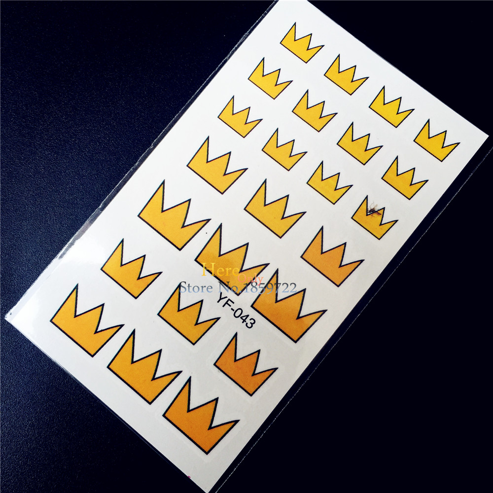 ღ ღżółty Królowa Korony Transferu Wody Tatuaż Korea