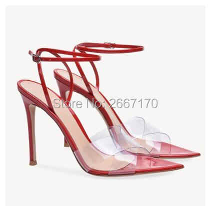 97f2f1d1428 Celebrity Shoes Women Summer PVC Clear Sandals Pointed-toe High Heels Ankle  strap Transparent Heels Kendall Jenner Style