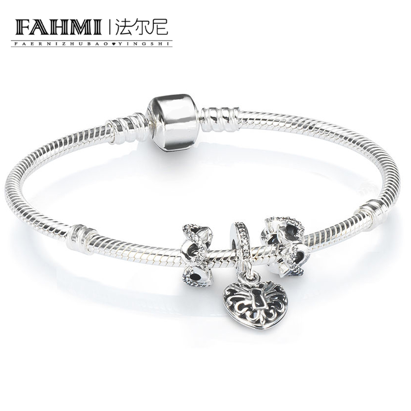 FAHMI 100% 925 Brand New 1:1 Charm Fashion Lock Love Pendant Beaded Bracelet Set Factory Outlet