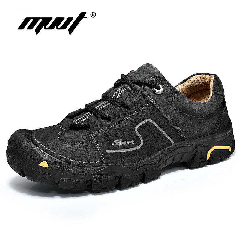 MVVT 2019 spring men casual shoes genuine leather men shoes quality lace up outdoor walking shoes