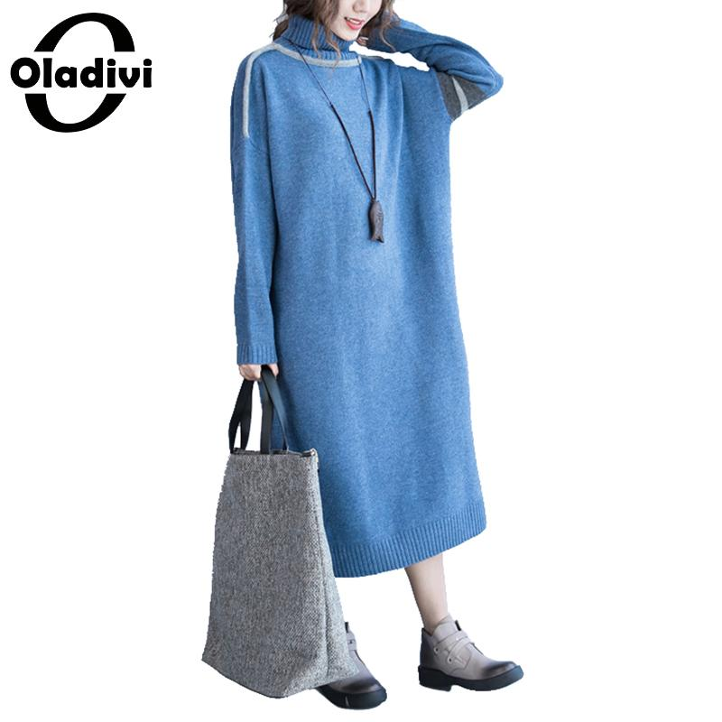 Oladivi 2018 Winter Dress Women New Turtle Neck Long Sleeve Sweater Dress Maxi Long Knitted Dresses Ladies Pullover Blue 5XL 4XL