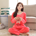 Новый Осень зима женщины пижамы прекрасный Фланель Домашней одежды шею длинным рукавом герои Мультфильмов Винни-Пух пижамы