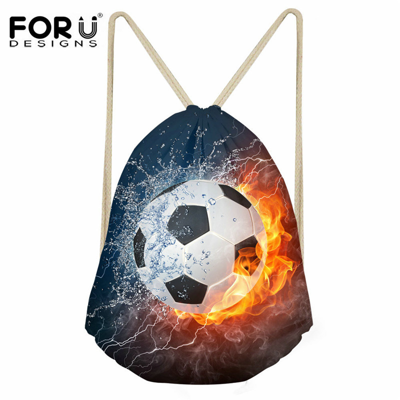 FORUDESIGNS Drawstring Bag Fire Ball 3D Prints Men's Small Drawstring Backpack Men Shoes Storage Package Kids Boys School Bag