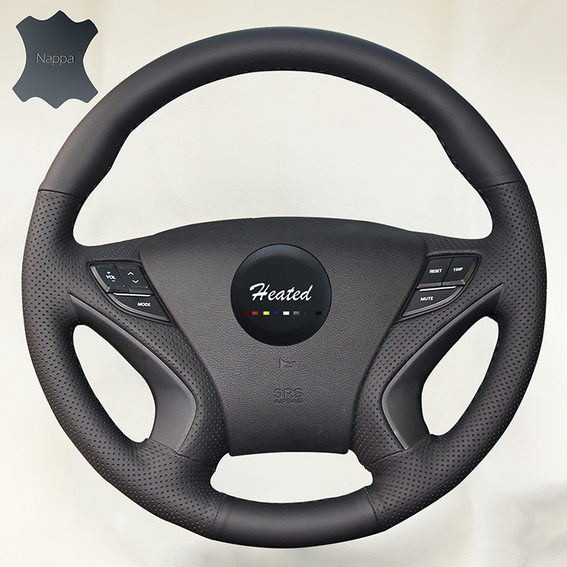 Genuine Nappa Leather Auto wheel steering cover for Hyundai sonata 2008 braid on the steering wheel