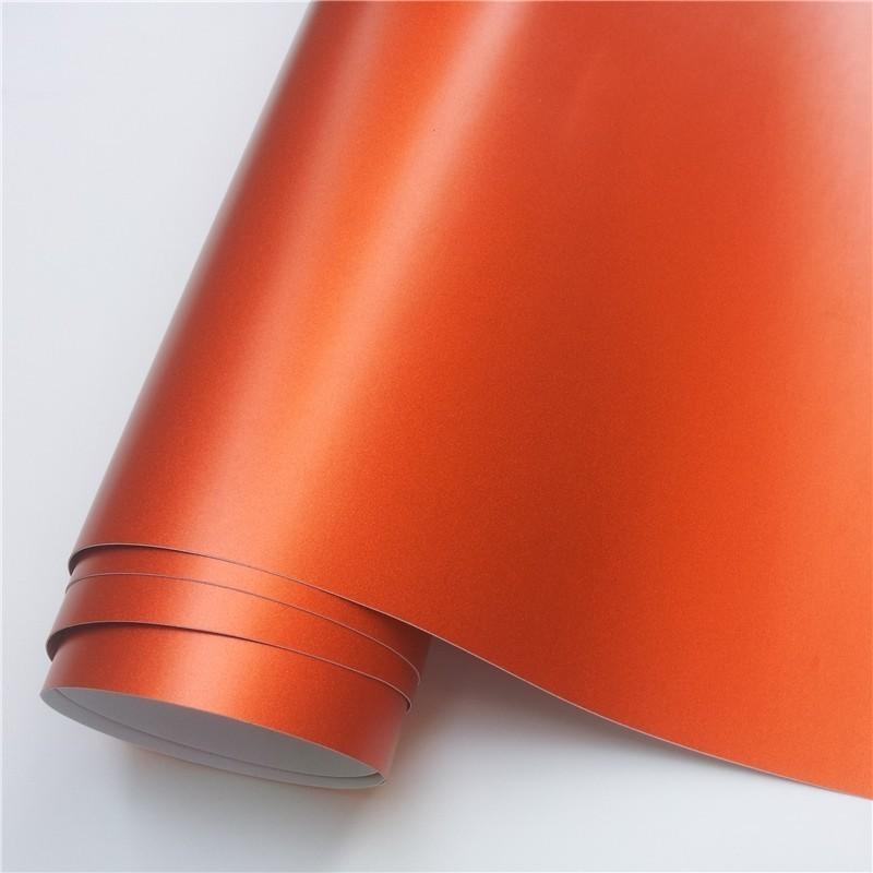 14 цветов, красный, синий, золотой, зеленый, фиолетовый матовый атлас, хром, виниловая пленка, наклейка, без пузырей, автомобильная пленка - Название цвета: Orange
