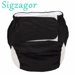 [Sigzagor]1 XL Adult Cloth Diaper Nappy Urinary Incontinence Pocket Reusable Insert Hook and Loop ABDL Age Play 26.7in to 50.4in(China)