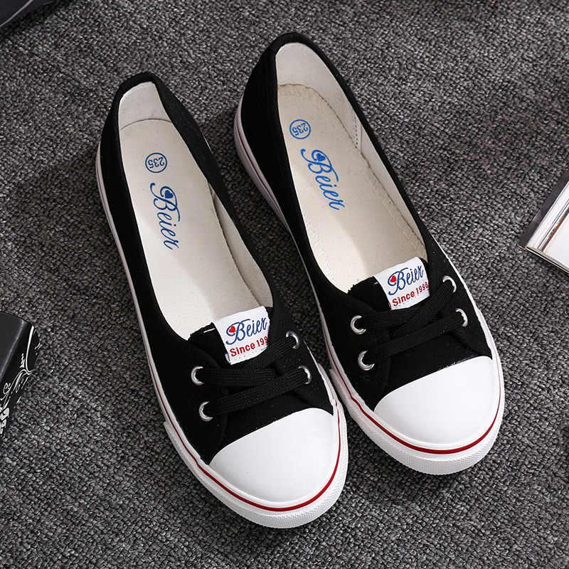 รองเท้าแฟชั่นผู้หญิง Vulcanize รองเท้าแฟชั่นผ้าใบลำลอง Breathable Simple ผู้หญิงรองเท้าสบายๆรองเท้าผ้าใบสีขาว