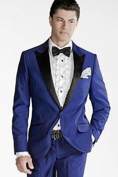 Royal Blue Men Suits 2017 Blace Collar Groomsmen Suits Groom Tuxedos Best Man Wedding Suits Foemal Prom Wear (Jacket+Pants+Tie)