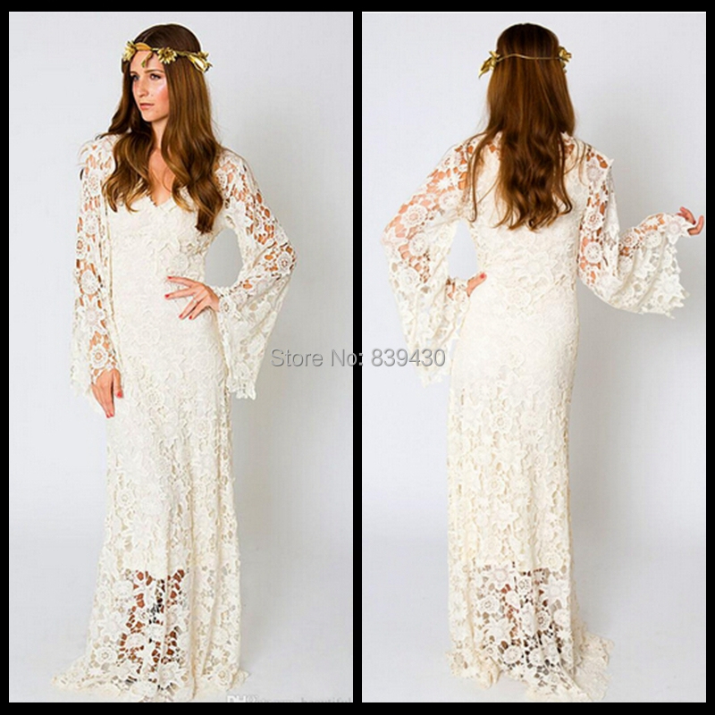 2015 Vintage Bohemian Wedding Dress Bell Sleeve Lace Ivory White Hippie Boho Bridal Gowns - Lolita store
