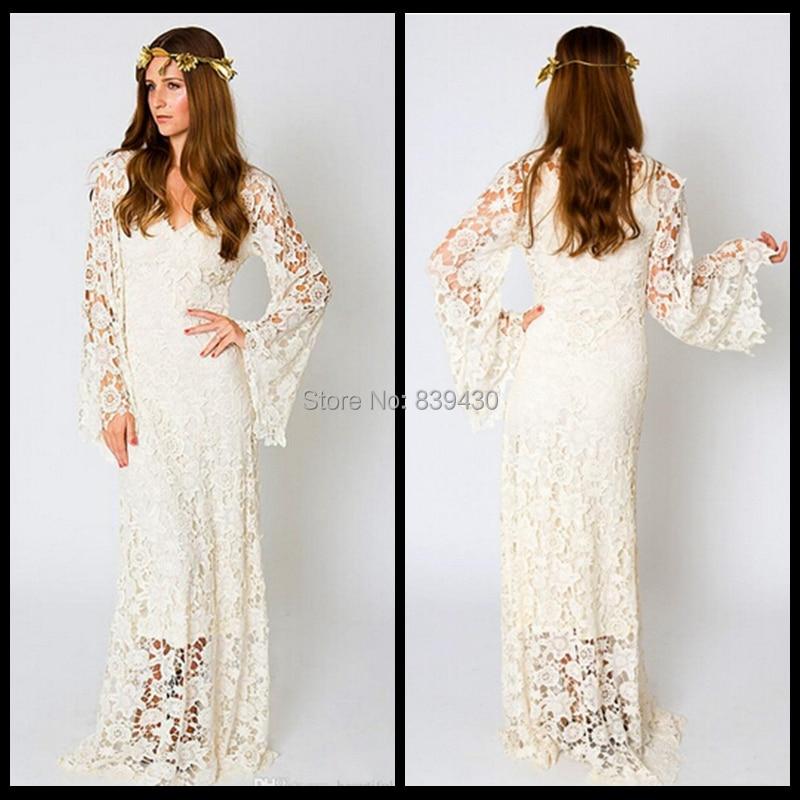 Vintage Wedding Dresses With Bell Sleeves: 2015 Vintage Bohemian Wedding Dress Bell Sleeve Lace Ivory