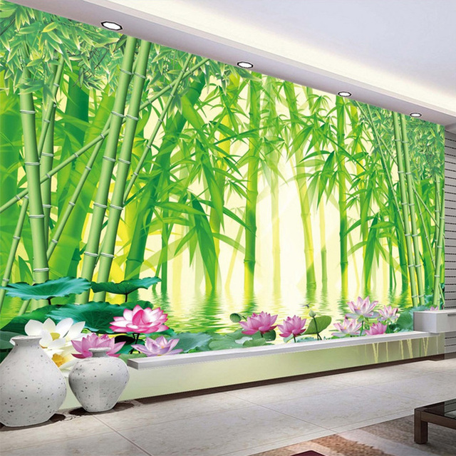 3D Wallpaper Modern Classic Green Bamboo Forest Scenery Photo Wall