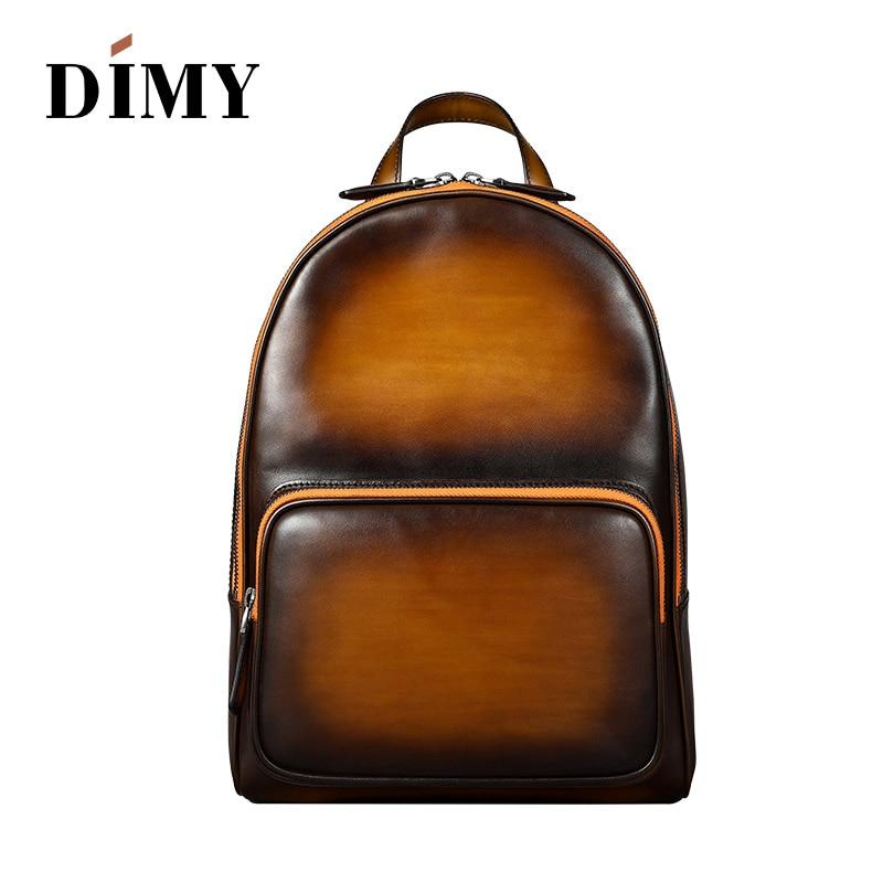 DIMY Hand Patina Waterproof Designer Mochila Backpack Male Genuine Leather Bagpack Vintage Style Casual Back Bag Back Packs