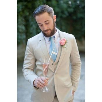Custom Made Ivory Men Suits Formal Skinny Wedding Groom Suits Custom Simple Men Tuxedo 3 Piece (Jacket+Pants+Vest)