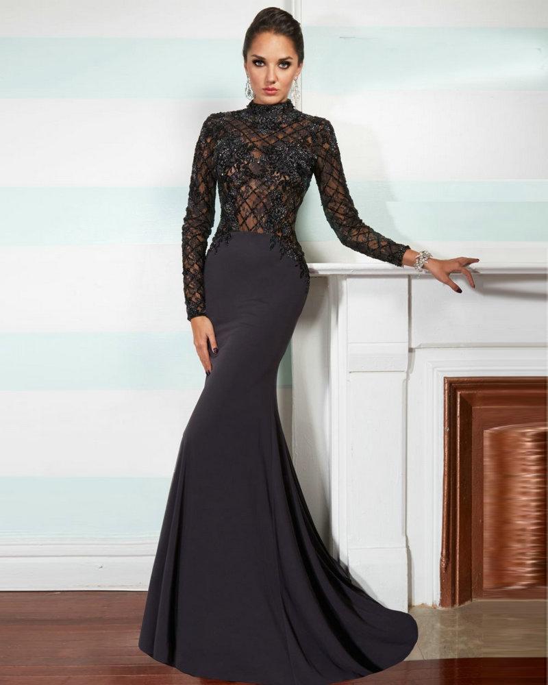 Style W1003 2016 Black Long Sleeve Prom Evening Dresses Mermaid See ...