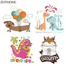 ZOTOONE Cute Dinosaur Iron Unicorn Patches For Kids Clothing Diy T-shirt Dresses Heat Transfer Sticker Christmas Gift For Kids E(China)