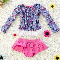 Vestito di Nuoto della ragazza dei bambini del Costume Da Bagno Bikini Set di Tre Pezzi A Maniche Lunghe Protezione Solare Costume Da Bagno per Bambini