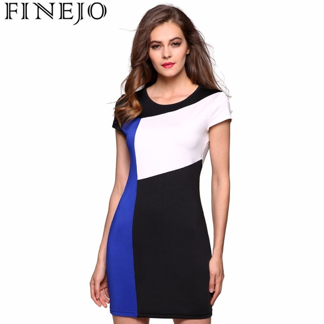 FINEJO Ladies Women Splicing Summer Dress Sleeve Patchwork Contrast Color Stretch Bodycon O-neck Hip Casual Party Slim Dress 3XL