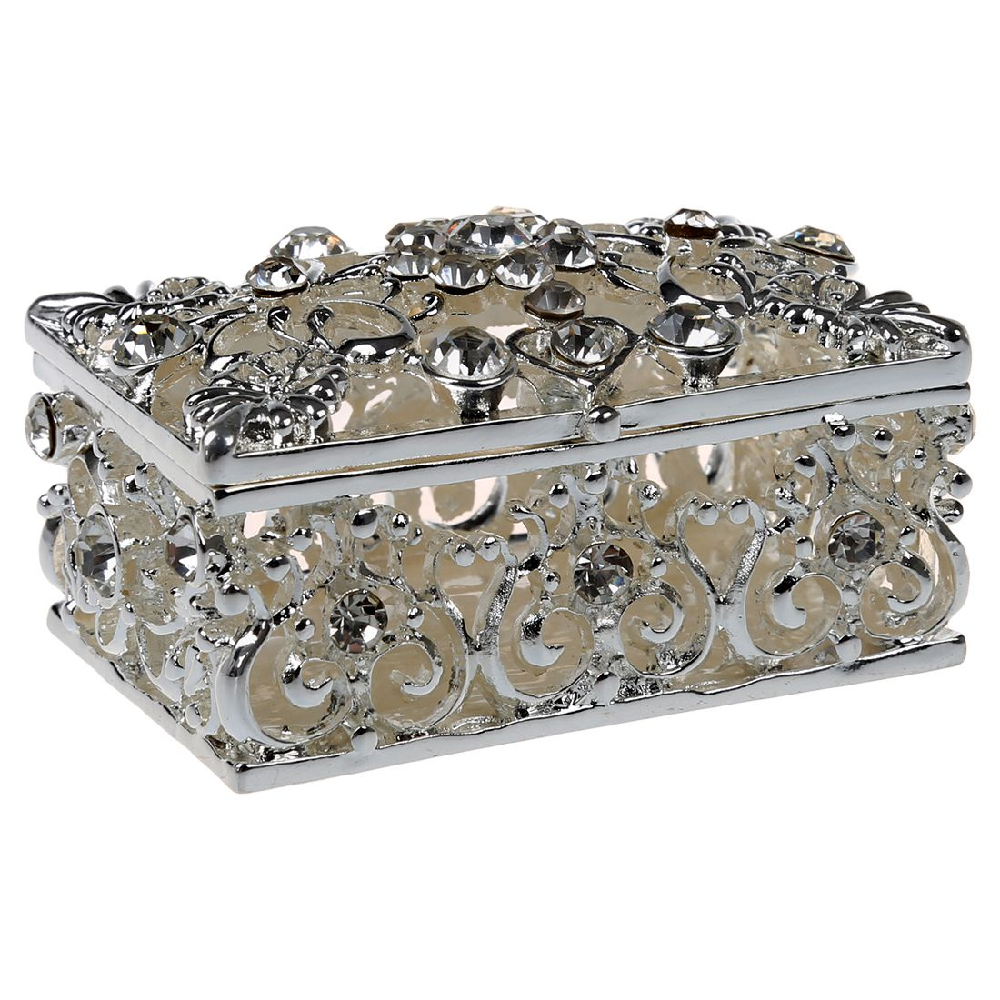 Practical Boutique Small Rhinestone Embellished Hollow Jewelry Storage Gift  Trinket Box Silver