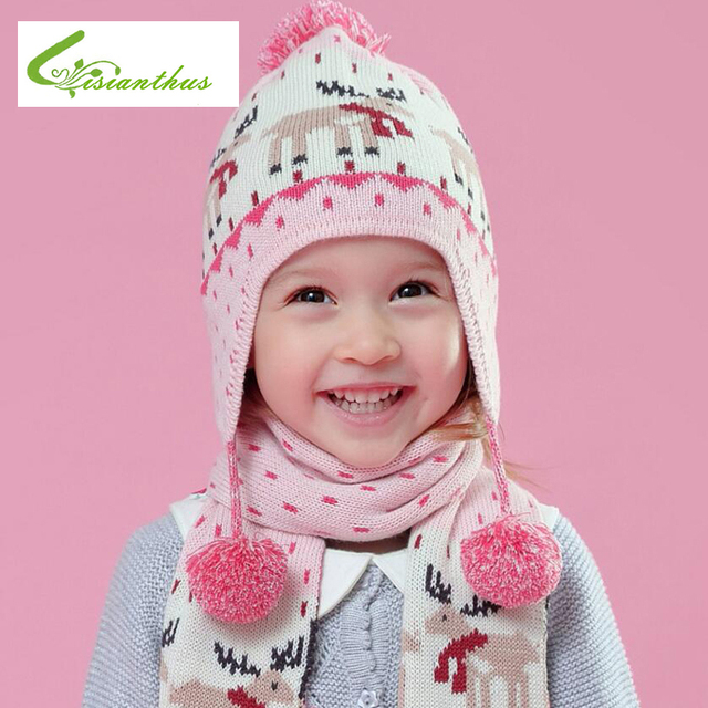 baf8491d17c Baby Hat Children Winter Hats for Girls Boy Thickened Warm Knitted Ears  Flap Cap Christmas Hats Cartoon Snow Caps New Year Gift