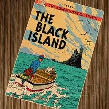 Isla Negra las aventuras de Tintín de dibujos animados Retro Vintage de póster cartel de pintura de la lona de la pared DIY carteles de papel casa decoración de regalo