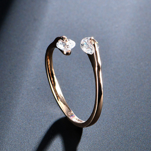 AAA Zircon Wedding Rings for women opening Rose gold color Crystal engagement rings female anel adjustable size top quality