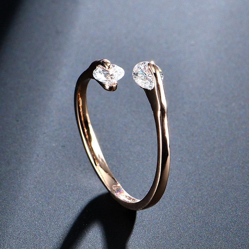 USTAR AAA Zirkon Trauringe für Frauen, die Rose Gold Farbe Kristall - Modeschmuck - Foto 5