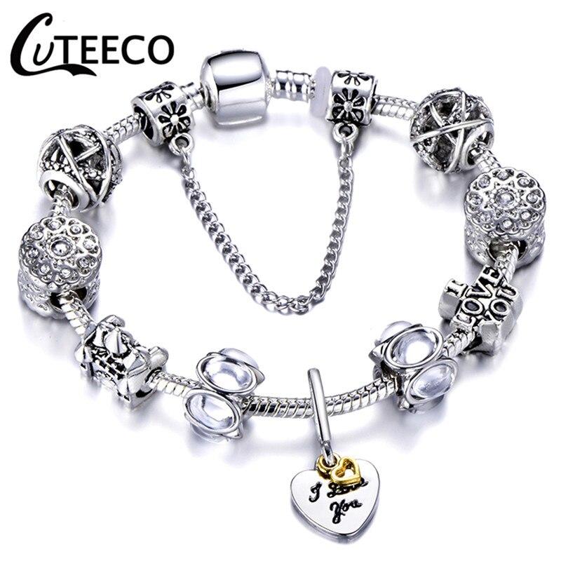 CUTEECO 925, модный серебряный браслет с шармами, браслет для женщин, Хрустальный цветок, сказочный шарик, подходит для брендовых браслетов, ювелирные изделия, браслеты - Окраска металла: AE0246