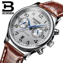 שוויץ Binger יוקרה מותג גברים של שעונים Relogio עמיד למים שעון זכר אוטומטי מכאני גברים שעון ספיר B 603 54