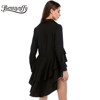 Benuynffy Black Cascading Ruffle Shirt Women 2018 Spring Autumn New Fashion Lapel Top Female Long Sleeve Casual High Low Blouse