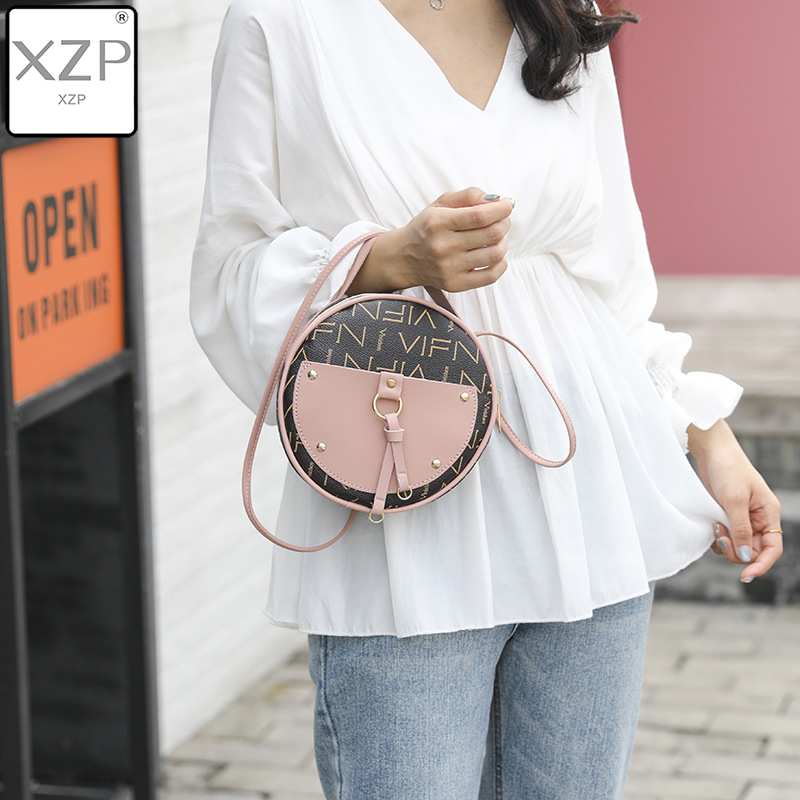 XZP Simple Scrub Leather Crossbody Shoulder Bag for Women Round Fashion Rivet Messenger Bag Female Casual Tote Bags Hot Sale Sac in Shoulder Bags from Luggage Bags