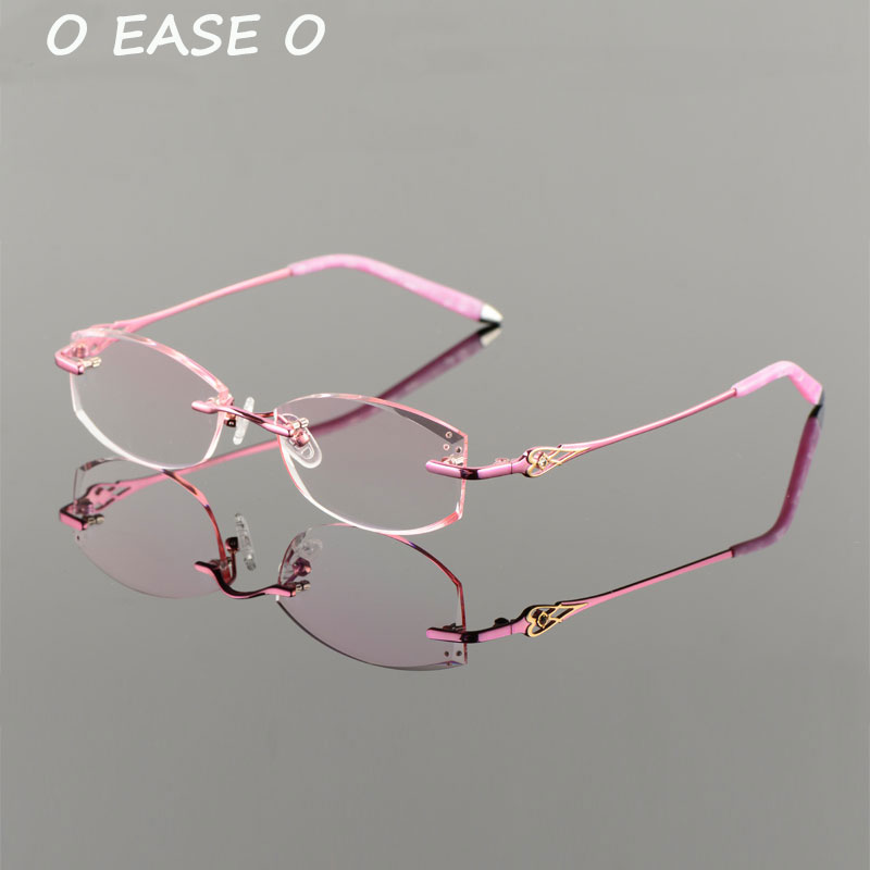 e30dccd866c 2017 New Rimless Korean Women Optical Frame Including 1.61 Asphereic Tinted  HMC UV400 EMI Lens Titanium