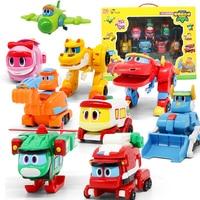 9pcs/set ABS Min Deformation Gogo Dino Action Figures REX Transformation Car Airplane Motorboat Crane Dinosaur toys for Kids