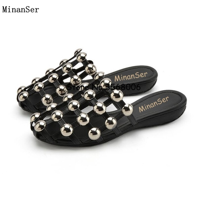 f8c536790f18 Round Toe black cage wedge slippers cut-outs leather studs rhinestone woman  summer sandals shoes gladiator style slides shoes