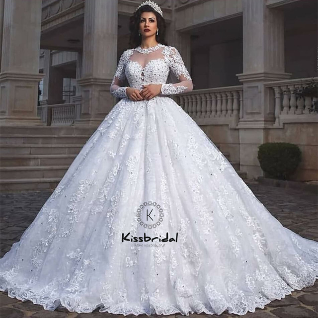 0c588c00de8ec2 vestido de noiva Newest Princess Style Wedding Dress Ball Gown Long Sleeve  Vintage Lace Bridal Gown