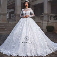 vestido de noiva Newest Princess Style Wedding Dress Ball Gown Long Sleeve Vintage Lace Bridal Gown