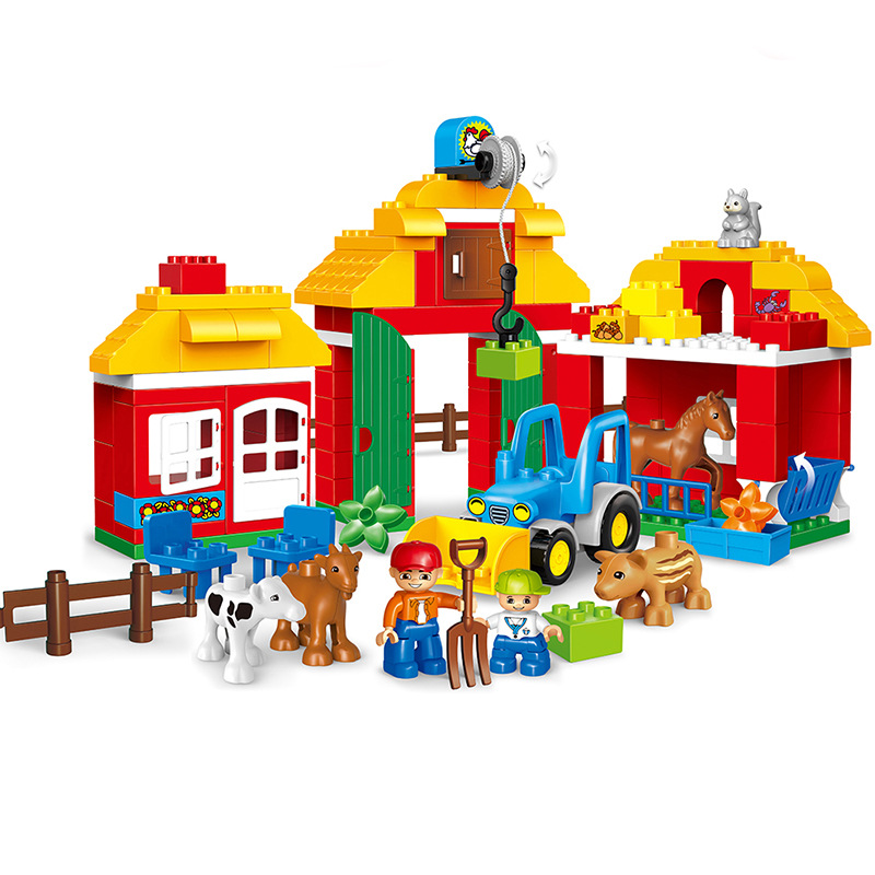 Original Big Building Blocks Animal Diy Happy Farm Happy Zoo With Duploe Set Blocks Bricks Toys For Children Birthday Gifts